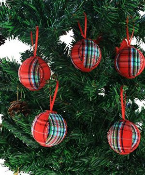 WEWILL 236 60mm Red Plaid Ball Christmas Ornament Party DecorationSet Of 10 Style 2 0 4 300x360