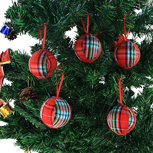 WEWILL 236 60mm Red Plaid Ball Christmas Ornament Party DecorationSet Of 10 Style 2 0 4