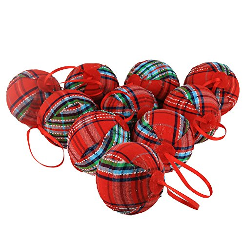 WEWILL 236 60mm Red Plaid Ball Christmas Ornament Party DecorationSet Of 10 Style 2 0