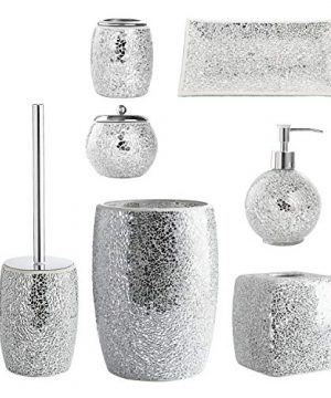 WH Housewares Bath Accessory Set 4 PIECE Mosaic Glass Bathroom Accessories Completes With LotionSoap Pump Cotton Jar Tray Toothbrush Holder Finished In Shining Silver Modern Style 0 0 300x360