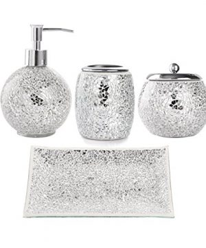 WH Housewares Bath Accessory Set 4 PIECE Mosaic Glass Bathroom Accessories Completes With LotionSoap Pump Cotton Jar Tray Toothbrush Holder Finished In Shining Silver Modern Style 0 300x360