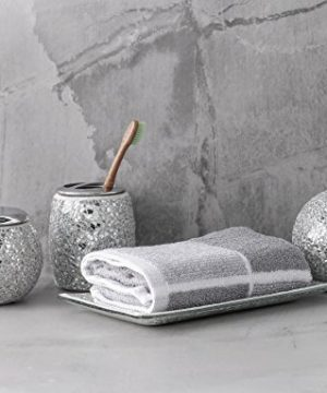WH Housewares Bath Accessory Set 4 PIECE Mosaic Glass Bathroom Accessories Completes With LotionSoap Pump Cotton Jar Tray Toothbrush Holder Finished In Shining Silver Modern Style 0 5 300x360