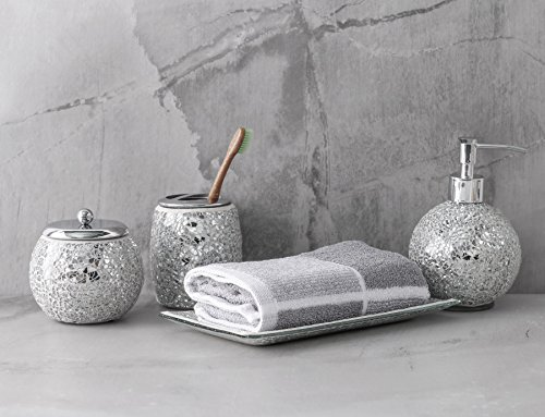 WH Housewares Bath Accessory Set 4 PIECE Mosaic Glass Bathroom Accessories Completes With LotionSoap Pump Cotton Jar Tray Toothbrush Holder Finished In Shining Silver Modern Style 0 5