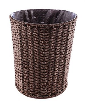 WOLFBUSH Woven Trash Can Round Rattan Waste Basket Household Waterproof Garbage Bin Without Lid For Bathroom Office Kitchen 0 300x360