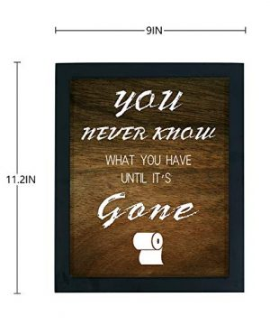 WaaHome Funny You Never Know What You Have Until Its Gone Bathroom Decor Sign Wood Framed Farmhouse Bathroom Wall Decor 0 4 300x360