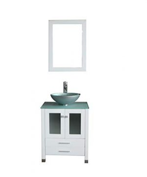 Walcut 24 Inch White Bathroom Vanity And Sink Combo Modern MDF Cabinet With Vanity Mirror Tempered Glass Counter Top Silver Green Glass Bowl Vessel Sink With Faucet And Pop Up Drain 0 300x360