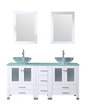 Walcut 60Inch White Bathroom Vanity And Sink Combo Solid MDF Cabinet With Clear Double Glass Vessel Sink And Faucet Pop Up Drain Combo Double Mirror 60 0 300x360