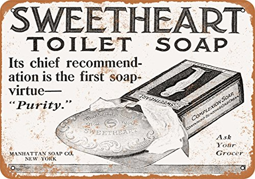Wall-Color-10-x-14-Metal-Sign-1909-Sweetheart-Toilet-Soap-Vintage-Look-0