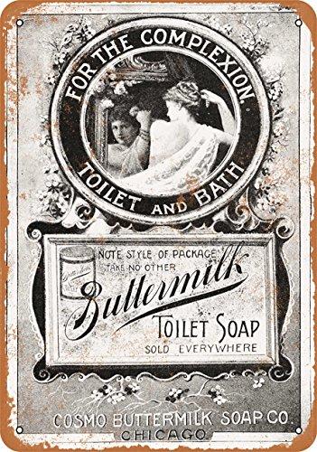 Wall-Color-9-x-12-Metal-Sign-1895-Buttermilk-Toilet-Soap-Vintage-Look-0