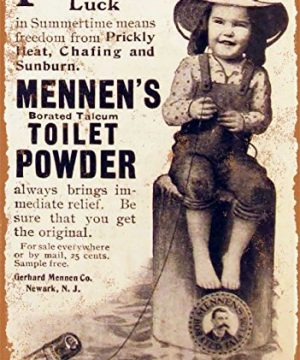 Wall-Color-9-x-12-Metal-Sign-1905-Mennens-Toilet-Powder-Vintage-Look-0