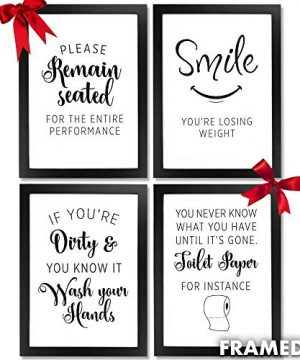 Wall Decor Bathroom Picture Frames Framed Wall Art Quotes For Farmhouse Rustic Country Or Modern Room Home Decor Bathroom Accessories 4pc Multi Black Picture Certificate Frame A4 Prints Wall Hook 0 300x360