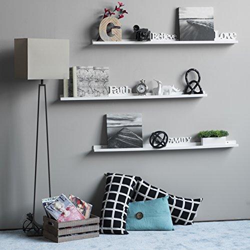 Wallniture Denver Set Of 4 White 46 Inch Floating Shelf Bookshelves Display Bookcase Modern Wood Shelving Units For Kids Bedrooms Nurseries Wall Mounted Storage Shelves 0 1