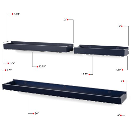 Wallniture Philly 3 Varying Sizes Floating Shelves Trays Bookshelves And Display Bookcase Modern Wood Shelving For Kids Room And Nursery Wall Mounted Storage Bathroom Shelf Navy 0 3