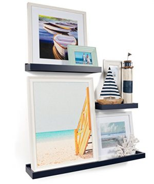 Wallniture Philly 3 Varying Sizes Floating Shelves Trays Bookshelves And Display Bookcase Modern Wood Shelving For Kids Room And Nursery Wall Mounted Storage Bathroom Shelf Navy 0 300x360