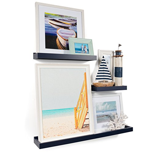 Wallniture Philly 3 Varying Sizes Floating Shelves Trays Bookshelves And Display Bookcase Modern Wood Shelving For Kids Room And Nursery Wall Mounted Storage Bathroom Shelf Navy 0