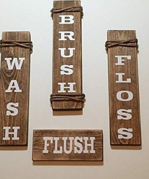 Wash Brush Floss Flush Brown Bathroom Wood Sign Set 0 300x360