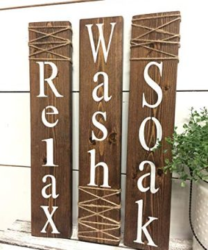 Wash Relax Soak Wood Signs Rustic Bathroom Signs Farmhouse Wall Decor 0 300x360