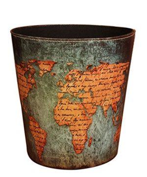 Wastebasket Samyoung European Style World Map Pattern PU Leather Paper Basket Trash Can Dustbin Garbage Bin 0 300x360