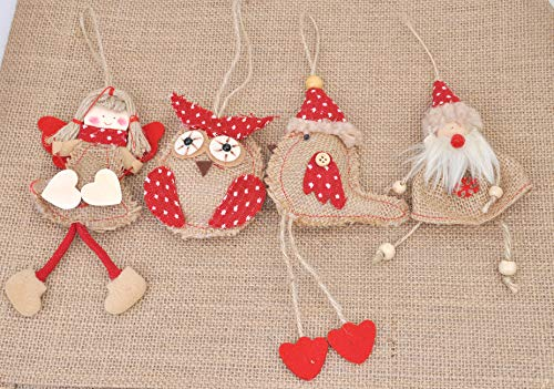 Welldone Christmas Ornaments Hanging Tree Decorations 8pcs Burlap Owl Bird Santa Claus Angel 0 0