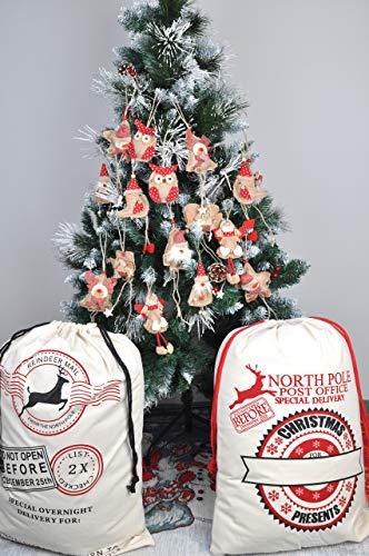 Welldone Christmas Ornaments Hanging Tree Decorations 8pcs Burlap Owl Bird Santa Claus Angel 0 2