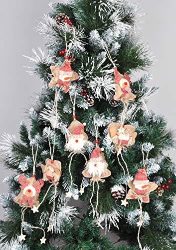 Welldone Christmas Ornaments Hanging Tree Decorations 8pcs Burlap Owl Bird Santa Claus Angel 0 3