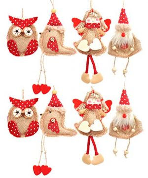 Welldone Christmas Ornaments Hanging Tree Decorations 8pcs Burlap Owl Bird Santa Claus Angel 0 300x360