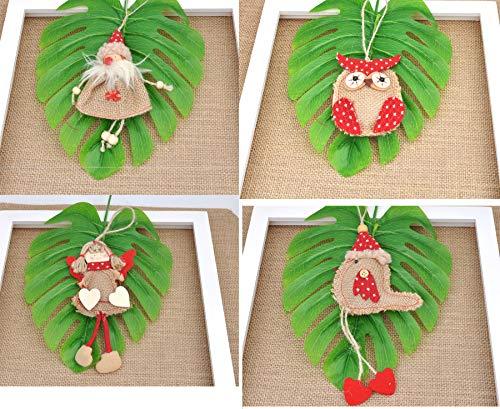 Welldone Christmas Ornaments Hanging Tree Decorations 8pcs Burlap Owl Bird Santa Claus Angel 0 5