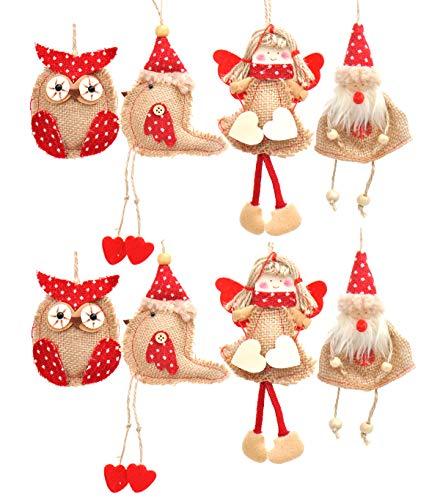 Welldone Christmas Ornaments Hanging Tree Decorations 8pcs Burlap Owl Bird Santa Claus Angel 0