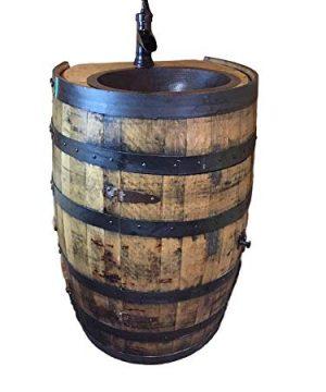 Whiskey Bourbon Barrel Vanity Sink Flat Back 0 300x360