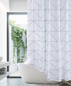 White Black Shower Curtain Farmhouse Fabric Cloth Shower Curtains For Bathroom 72 X 72 Triangles Machine Washable 0 0 300x360