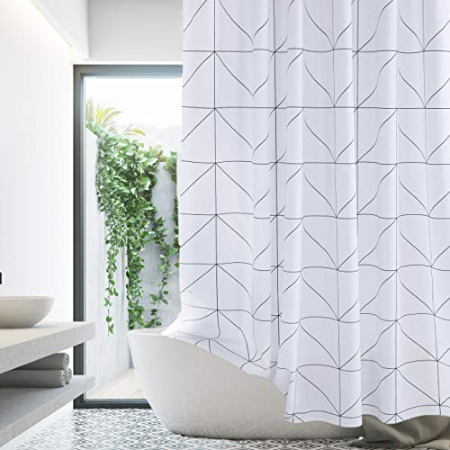 White Black Shower Curtain Farmhouse Fabric Cloth Shower Curtains For Bathroom 72 X 72 Triangles Machine Washable 0 0
