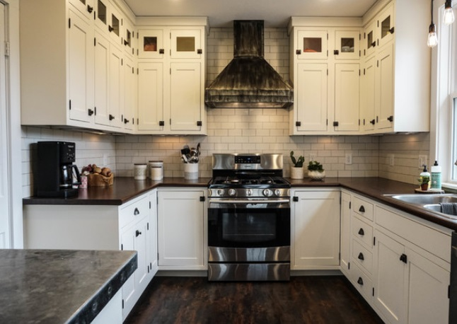 White Farmhouse Kitchen by Schrocks Woodworking