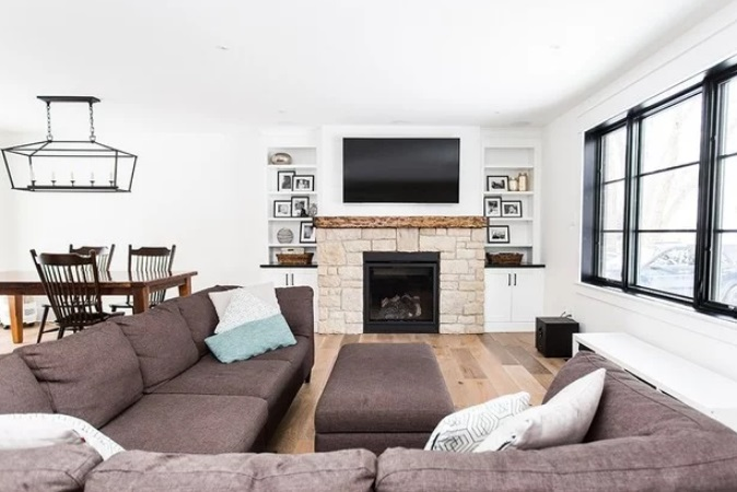 White Living Room by Heartwood Renovations Limited