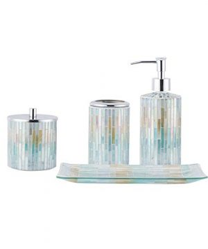 Whole Housewares Bathroom Accessories Set 4 Piece Glass Mosaic Bath Accessory Completes With Lotion DispenserSoap Pump Cotton Jar Vanity Tray Toothbrush Holder Blue Multi 0 300x360