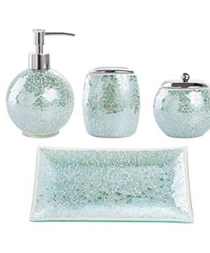 Whole Housewares Bathroom Accessories Set 4 Piece Glass Mosaic Bath Accessory Completes With Lotion DispenserSoap Pump Cotton Jar Vanity Tray Toothbrush Holder Turquoise 0 300x360