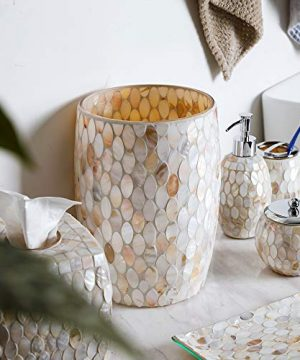 Whole Housewares Bathroom Wastebasket Glass Mosaic Decorative Trash Can Dia 75 H 10 Shell 0 2 300x360