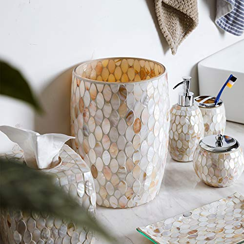 Whole Housewares Bathroom Wastebasket Glass Mosaic Decorative Trash Can Dia 75 H 10 Shell 0 2