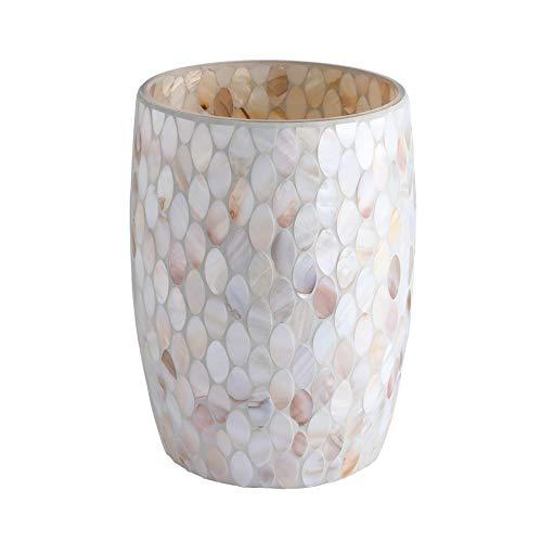 Whole Housewares Bathroom Wastebasket Glass Mosaic Decorative Trash Can Dia 75 H 10 Shell 0