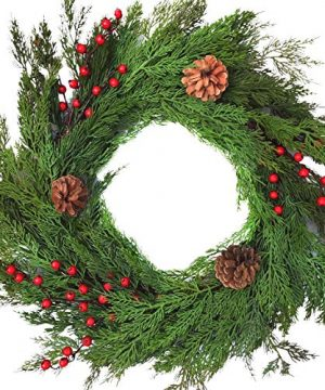 Winter Door Wreath Artificial Cedar Wreath For Lodge Or Farmhouse Decorating Rustic Natural Looking Evergreens Red Berries Pine Cones Will Fit In Between Storm Doors 22 Inch Diameter 35 Inches Deep 0 300x360
