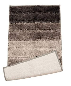 Winwinplus Bath Mat Non Slip Soft Absorbent Super Cozy Shaggy Microfiber Machine Washable Bathroom Rug Carpet 20 X 32 Gray Striped 0 300x360