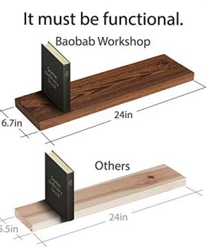 Wood Floating Shelves Set Of 2 Rustic Floating Shelves 24 Inch Wide Wooden Wall Shelves For Living Room Bedroom Kitchen Bathroom Farmhouse And More Dark Walnut Color 24 X 67 4 Colors 0 0 300x360