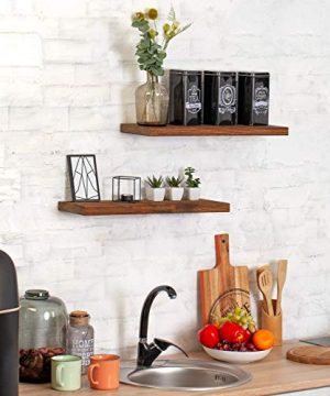 Wood Floating Shelves Set Of 2 Rustic Floating Shelves 24 Inch Wide Wooden Wall Shelves For Living Room Bedroom Kitchen Bathroom Farmhouse And More Dark Walnut Color 24 X 67 4 Colors 0 4 300x360
