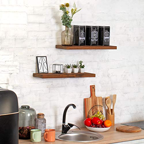 Wood Floating Shelves Set Of 2 Rustic Floating Shelves 24 Inch Wide Wooden Wall Shelves For Living Room Bedroom Kitchen Bathroom Farmhouse And More Dark Walnut Color 24 X 67 4 Colors 0 4