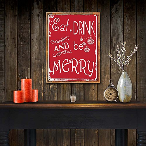 Wood Framed Eat Drink And Be Merry Metal Sign Holiday Christmas Home Decor For Kitchen On Reclaimed Rustic Wood 0 0