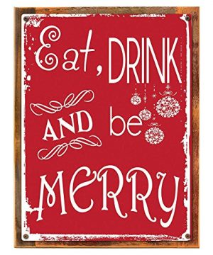 Wood Framed Eat Drink And Be Merry Metal Sign Holiday Christmas Home Decor For Kitchen On Reclaimed Rustic Wood 0 300x360