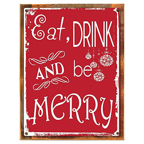 Wood Framed Eat Drink And Be Merry Metal Sign Holiday Christmas Home Decor For Kitchen On Reclaimed Rustic Wood 0