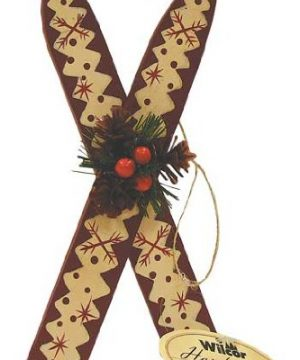 Wood Skis With Holly Hanging Ornament 6 Inch 1 Pc Random 0 0 300x360