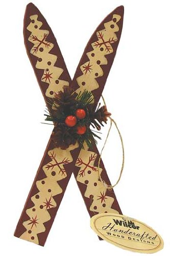 Wood Skis With Holly Hanging Ornament 6 Inch 1 Pc Random 0 0