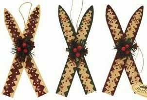 Wood Skis With Holly Hanging Ornament 6 Inch 1 Pc Random 0