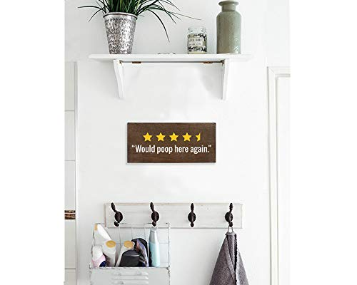 Would Poop Here Again Sign Toilet Decor 6x12 Rustic Wood Plaque Funny Bathroom Signs 0 3